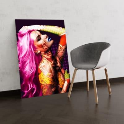 tableau femme nue pop art design coloré decoration murale femme corps nue art deco