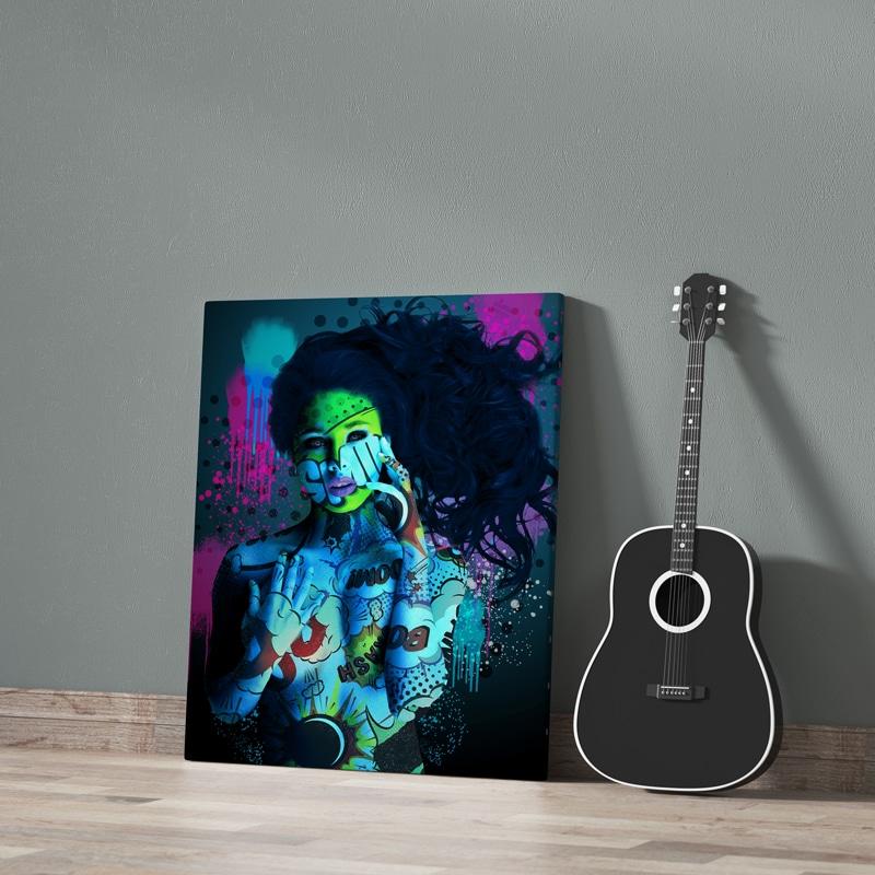 tableau femme coloré pop art