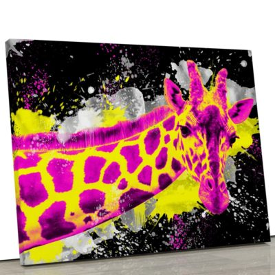 tableau-girafe-coloré-multicolore-popart-jaune-noir-rose-blanc