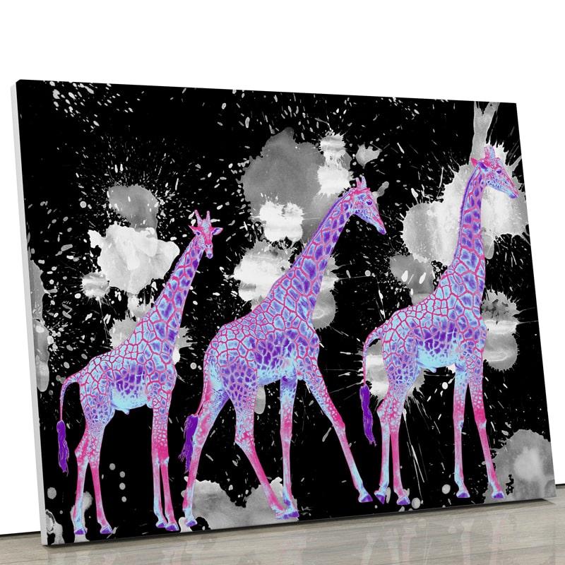 tableau-girafe-coloré-popart-multicolore-noir-blanc-violet-