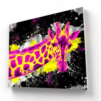 tableau animaux pop art girafe coloré