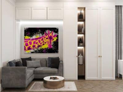 tableau girafe pop art animaux