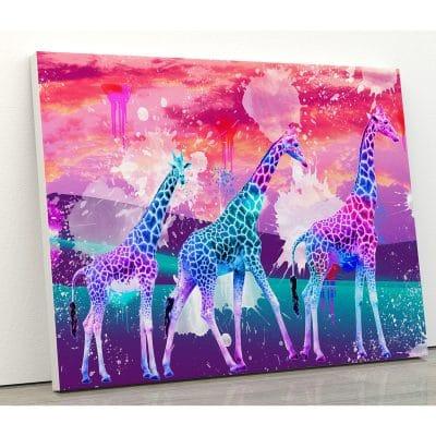 tableau girafe coloré