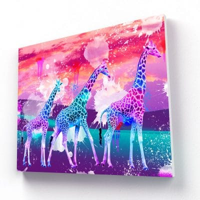 tableau girafe multicolore