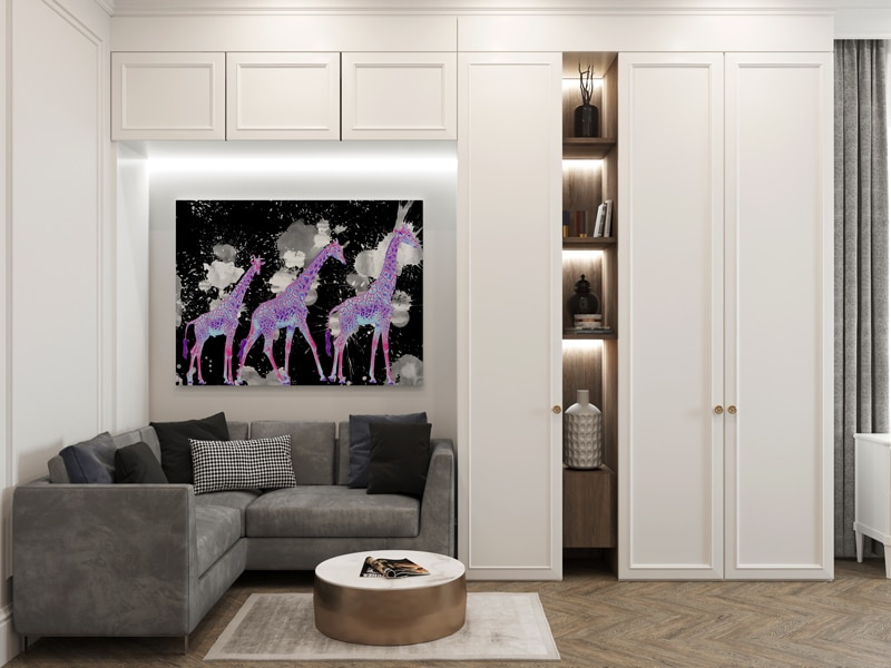 tableau girafe pop art
