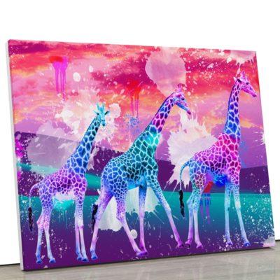 tableau-girafe-pop-coloré-animaux-popart-blanc-violet-rouge-