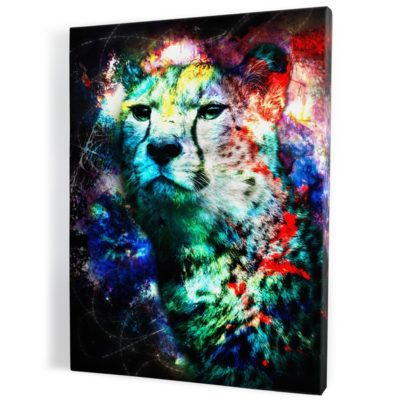 tableau-guepard-popart-colore-bleu-rouge-jaune-violet