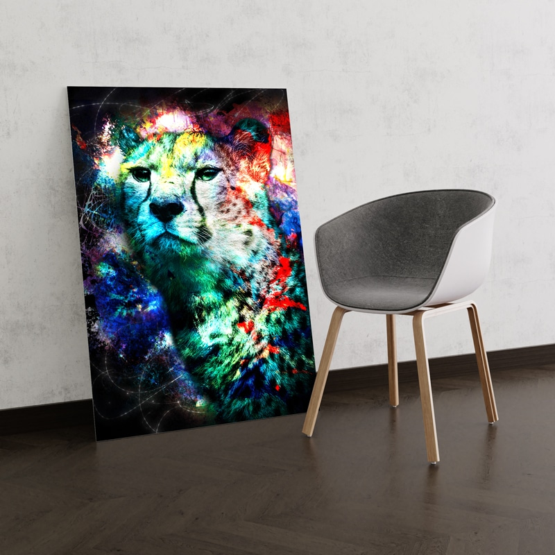 tableau guepard coloré