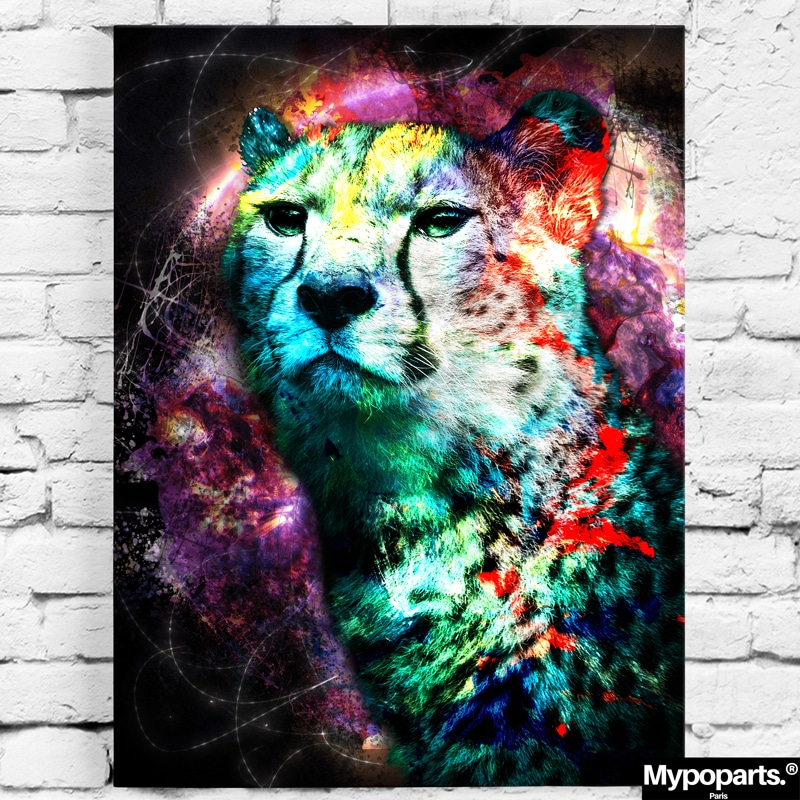 tableau guepard coloré pop art street art