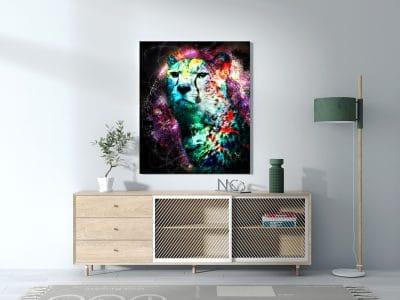 tableau guepard tigre coloré
