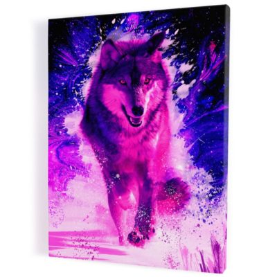 tableau-loup-coloré-multicolore-rose-rouge-bleu-decoration-murale