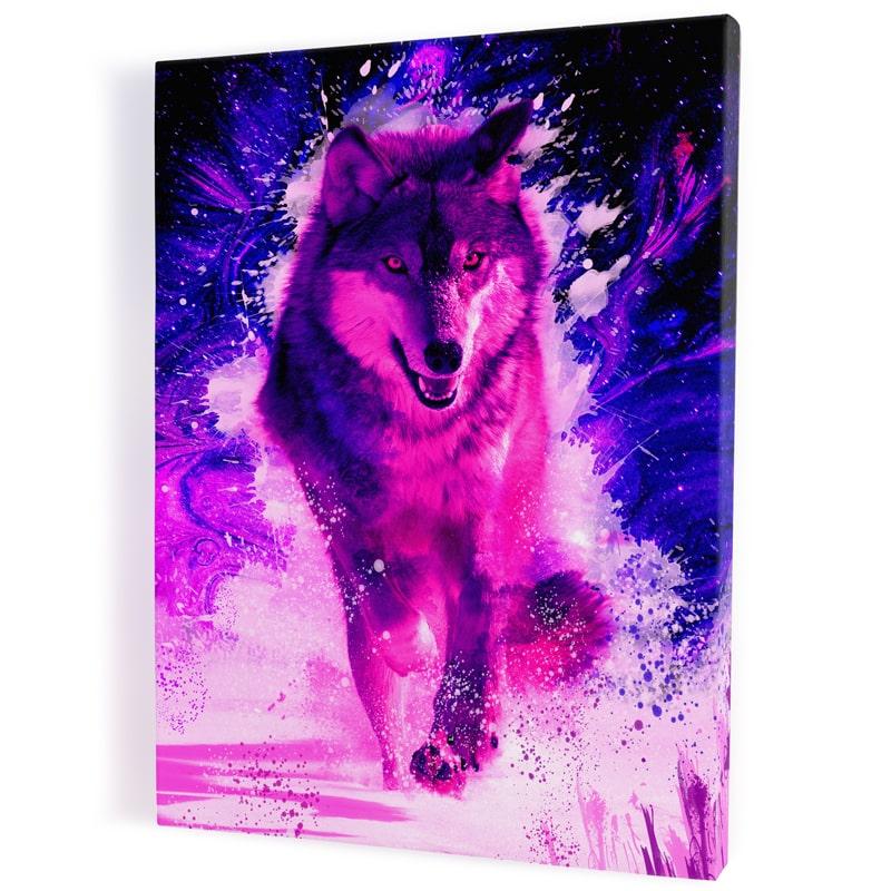 tableau-loup-coloré-multicolore-rose-rouge-bleu-decoration-murale