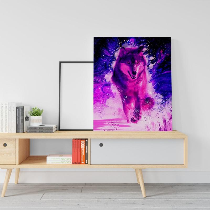 cadre loup coloré