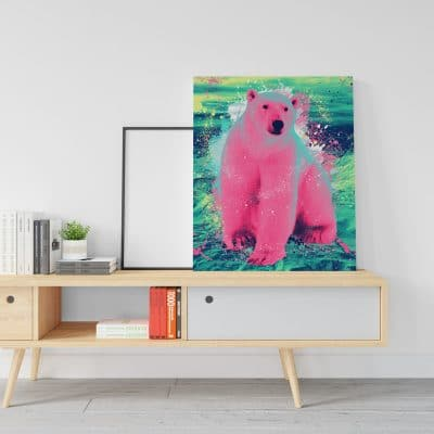 tableau ours polaire multicolore