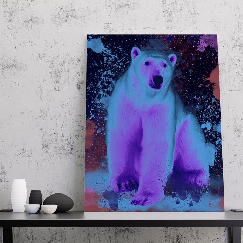 tableau ours polaire coloré