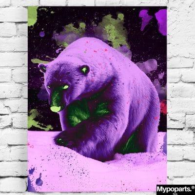 tableau toile poster ours polaire pop art coloré multicolore