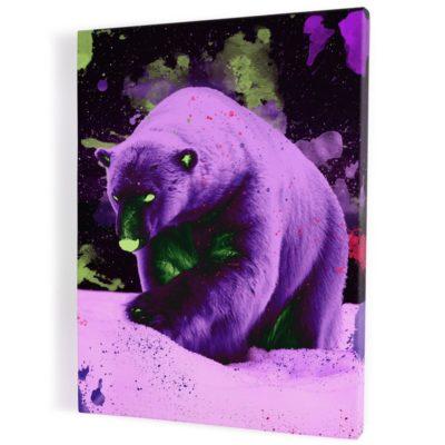 tableau-ours-polaire-popart-multicolore-coloré-violet-jaune-fluo-