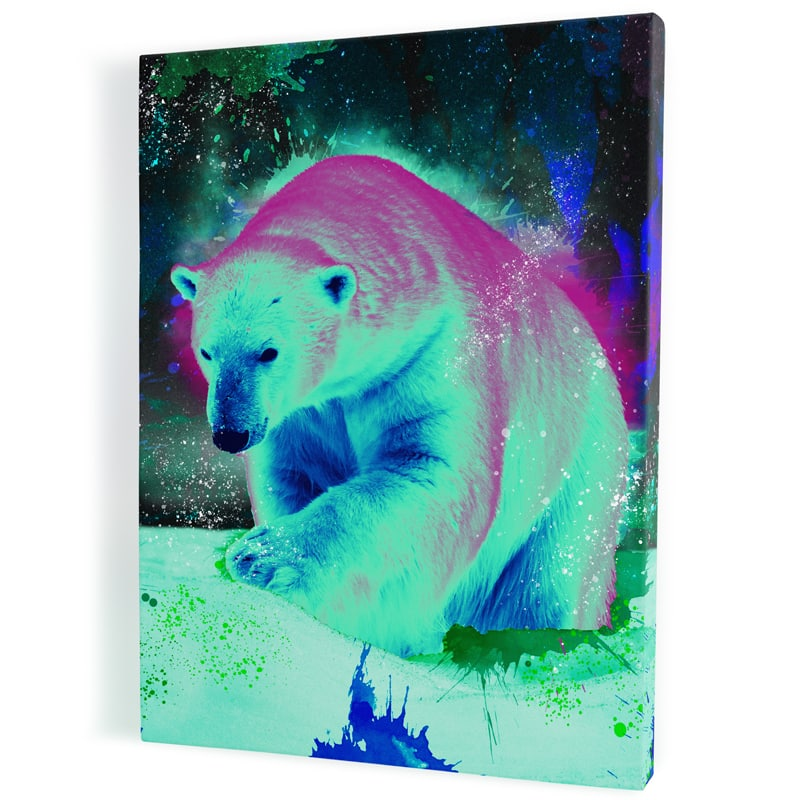 tableau-ours-polaire-popart-multicolore-coloré