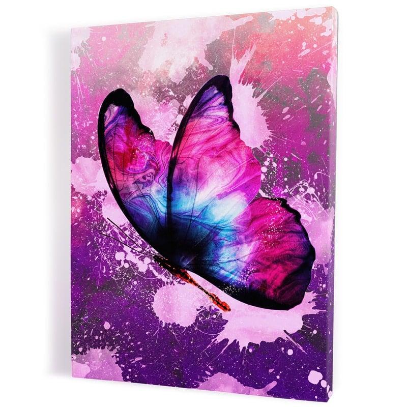 tableau-papillon-coloré-multicolore-popart-rose-violet-blanc-bleu-rouge