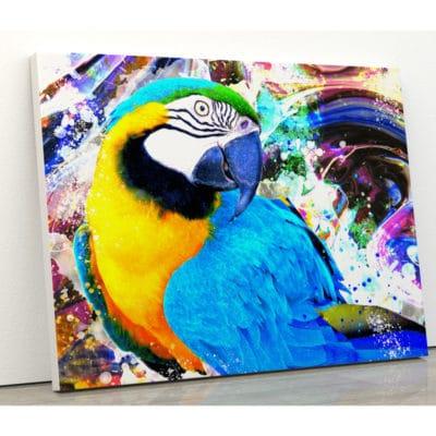 tableau perroquet multicolore pop art street art animaux decoration murale poster cadre toile