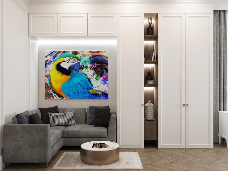 tableau perroquet oiseau coloré