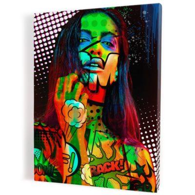 tableau--popart-coloré-femme-decoration-murale