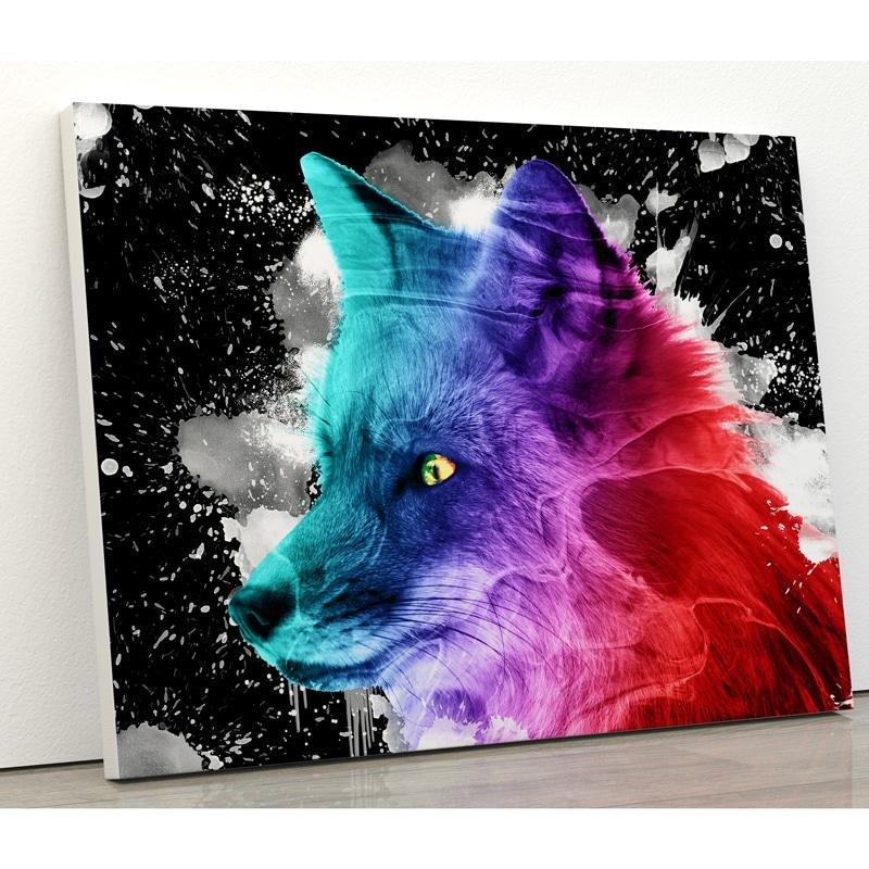 tableau renard multicolore