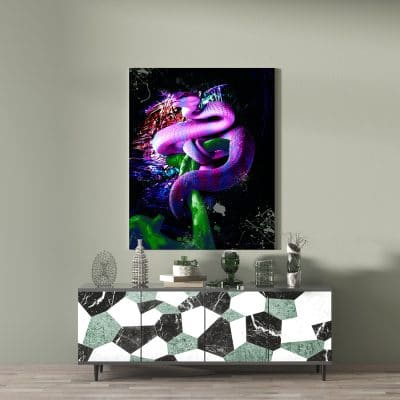 tableau serpent design animaux pop art