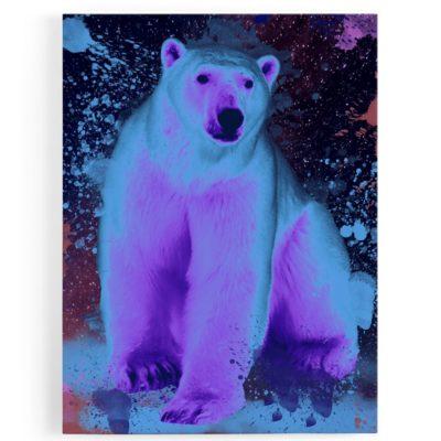 tableau-toile-aluminium-ours-polaire-coloré-violet-popart-streetart
