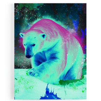 tableau-toile-cadre-ours-polaire-popart-multicolore-coloré