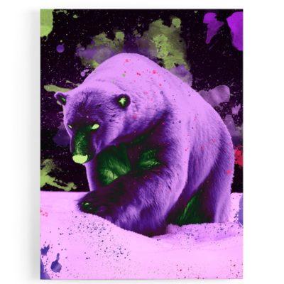 tableau-toile-cadre-ours-polaire-popart-multicolore-coloré-violet-jaune-fluo-