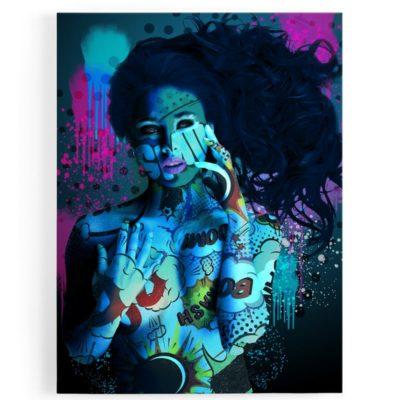 tableau-toile-femme-nue-bleu-sexy-popart-coloré