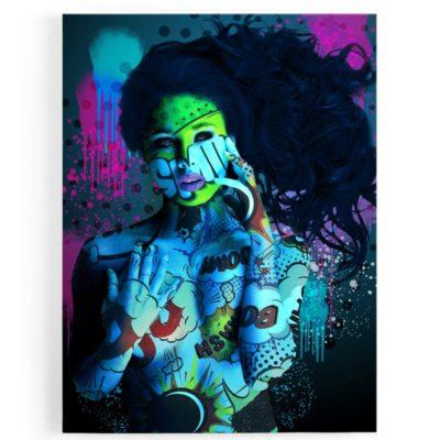 tableau-toile-femme-nue-bleu-vert-sexy-popart-coloré