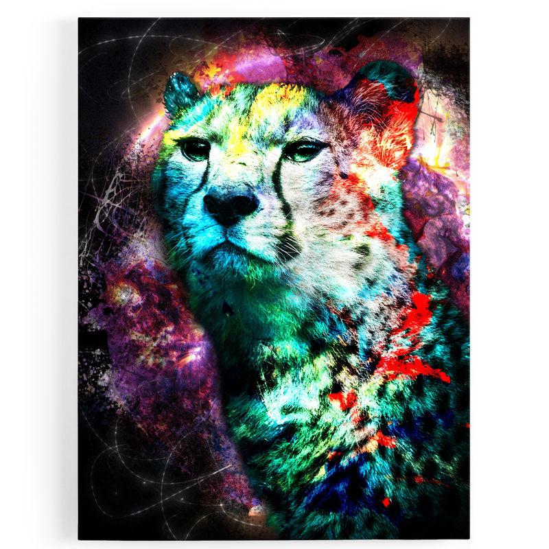tableau-toile-guepard-coloré-popart-violet-bleu-jaune