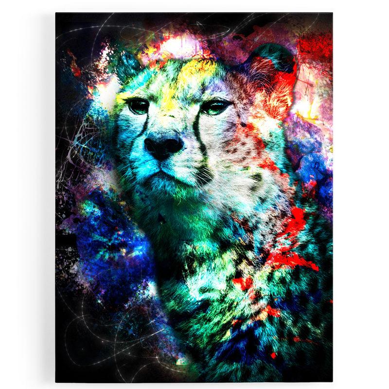 tableau-toile-guepard-popart-colore-bleu-rouge-jaune-violet