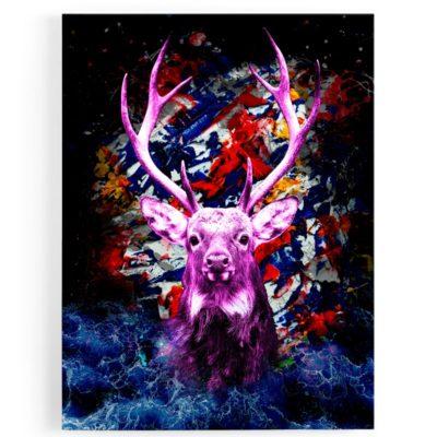 tableau-toile-popart-cerf-coloré-violet-bleu-rouge-multicolore