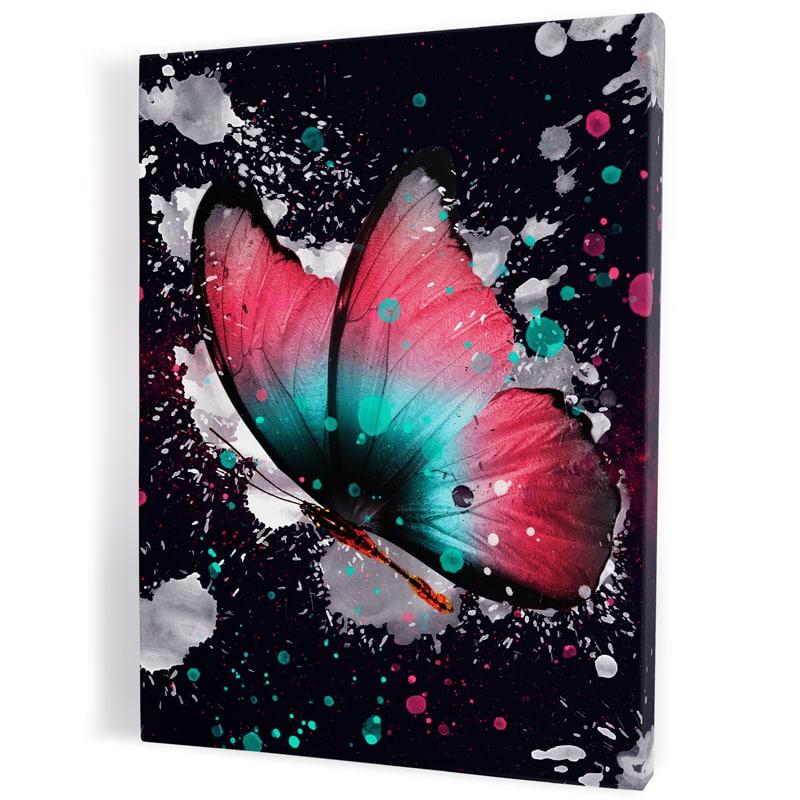 tableau-toile-poster-papillon-coloré-multicolore-popart-rose-violet-blanc-bleu-rouge