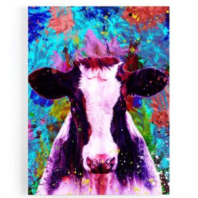 tableau-vache-coloré-popart-bleu-rose-blanc