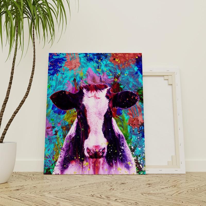 tableau vache coloré street art pop art multicolore deco vache