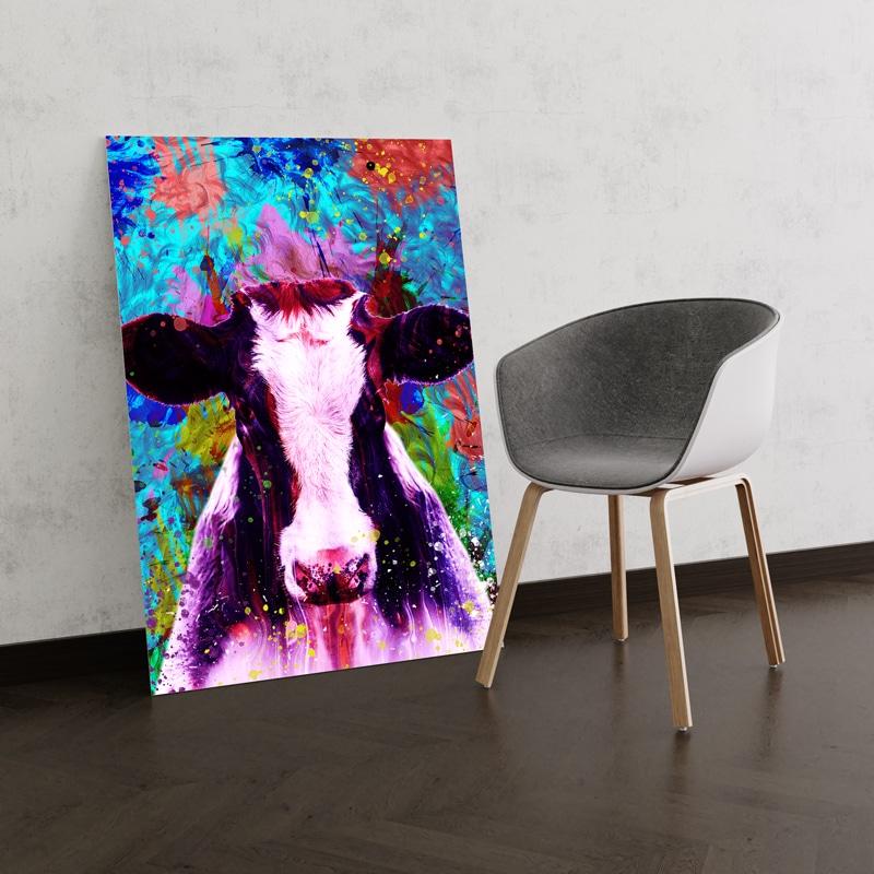 tableau vache multicolore
