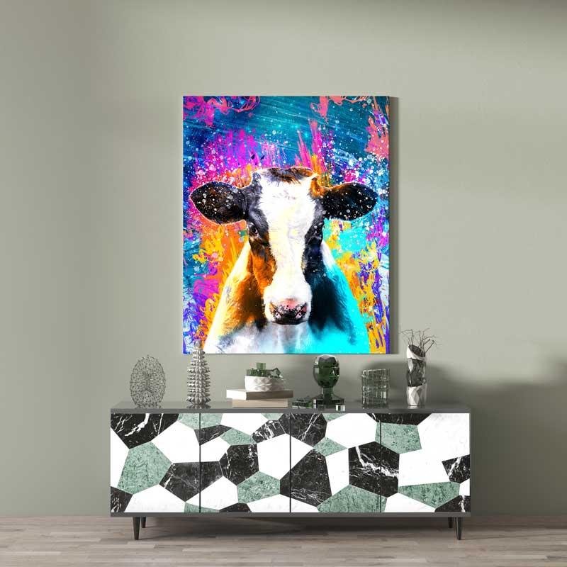 tableau vache pop art decoration murale animaux