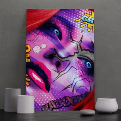 tableau visage coloré pop art street art