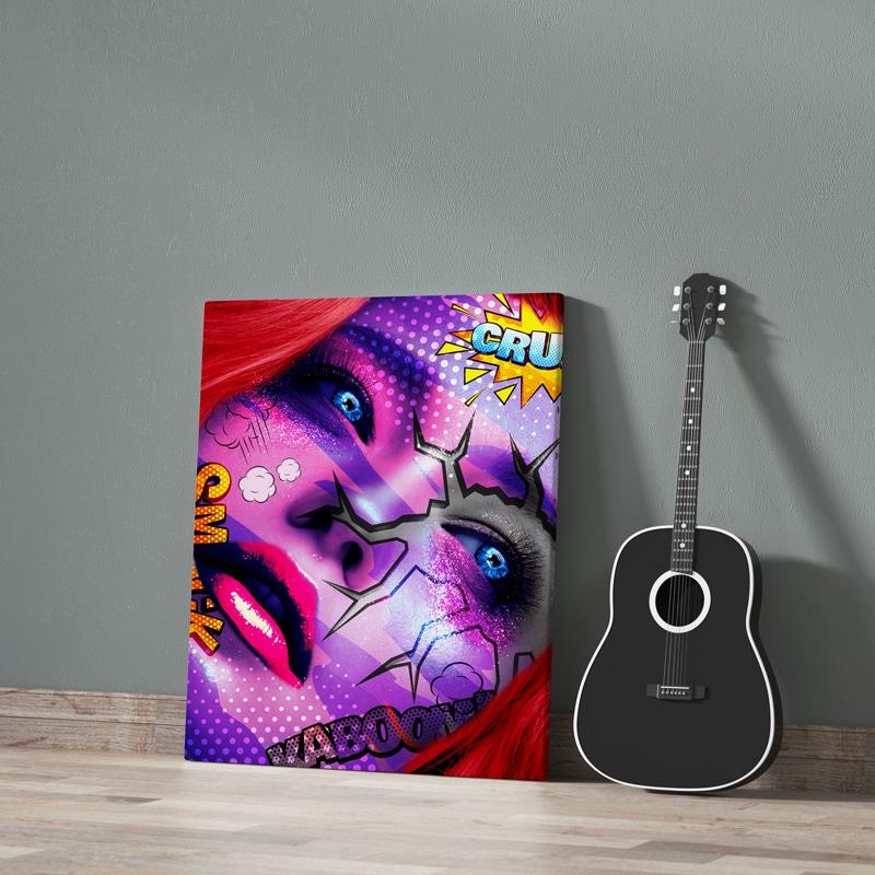 tableau pop art femme visage coloré art design