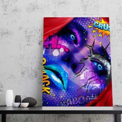 tableau femme visage pop art design coloré
