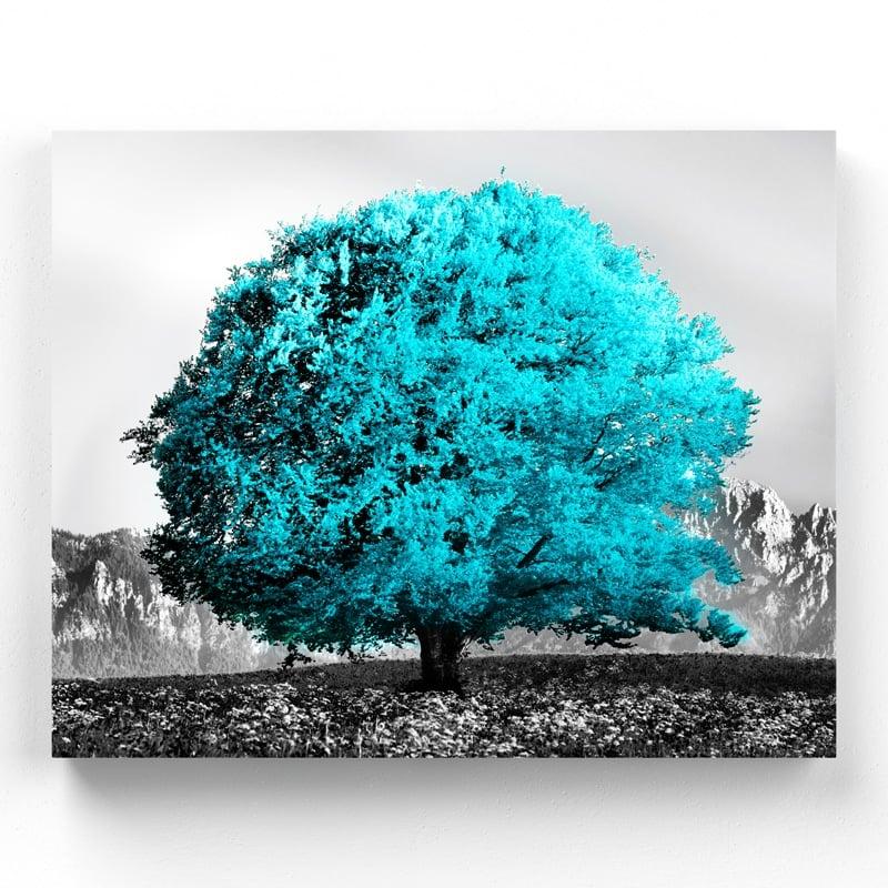 tableau arbre bleu toile cadre poster arbre bleu