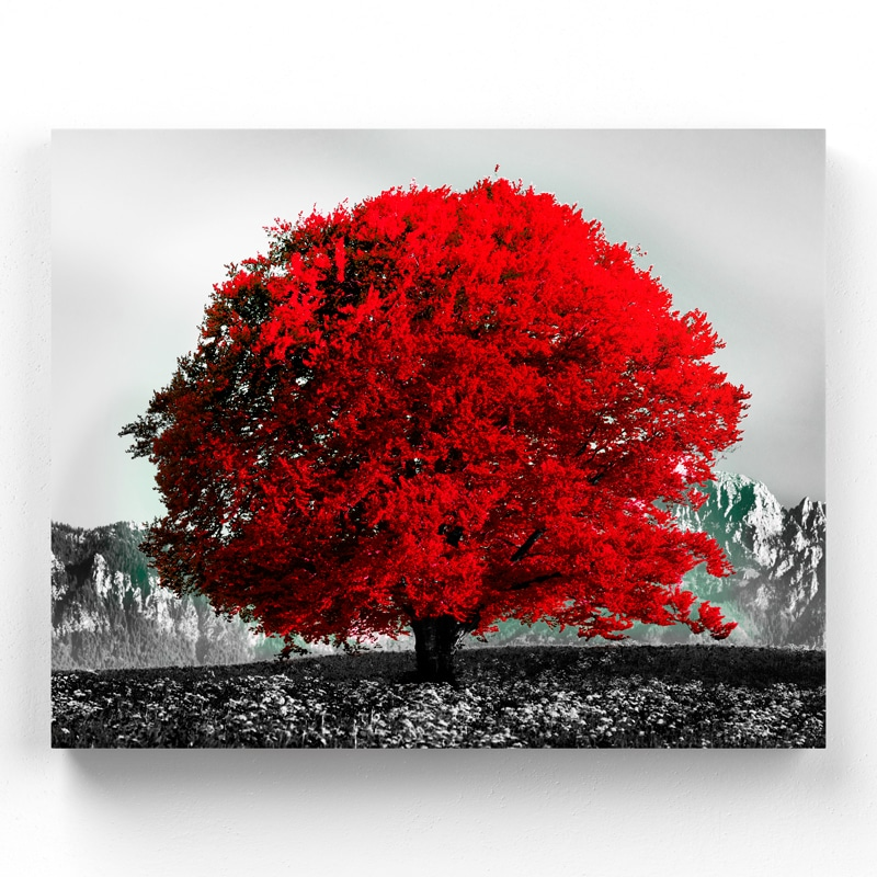 tableau arbre rouge arbre coloré
