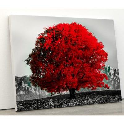 tableau arbre rouge coloré pop art nature paysage montagne avec arbre rouge