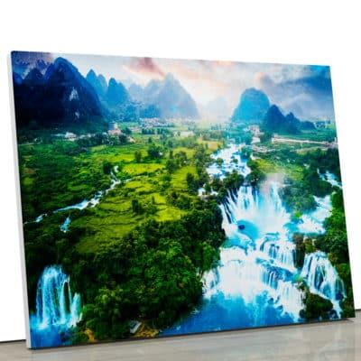 tableau-cascade-foret-montagne-nature-paysage-nature