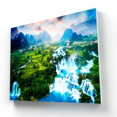 tableau cascade foret montagne