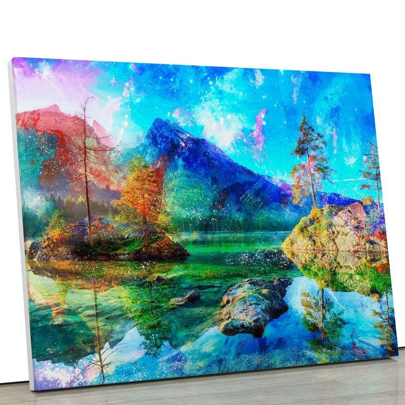 tableau paysage montagne et lac et roche avec océan bleu style pop art